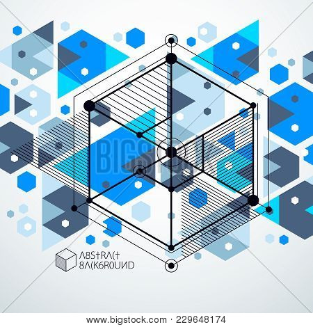 Engineering Technology Vector Blue Background Made With 3d Cubes And Lines. Engineering Technologica