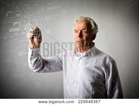 Old Man Is Looking For A Route On The City Map. Amnesia Concept.