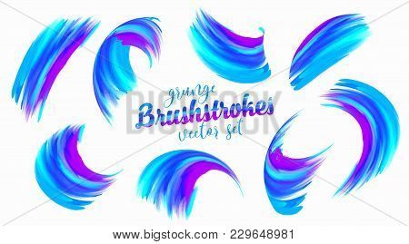 Grunge Blue And Violet Paint Vector Brushstrokes Set Isolated On White Background