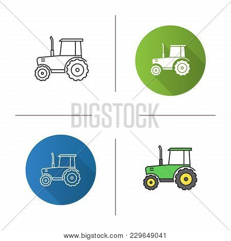 Tractor Icon. Flat Design, Linear And Color Styles. Agricultural Implement. Isolated Vector Illustra