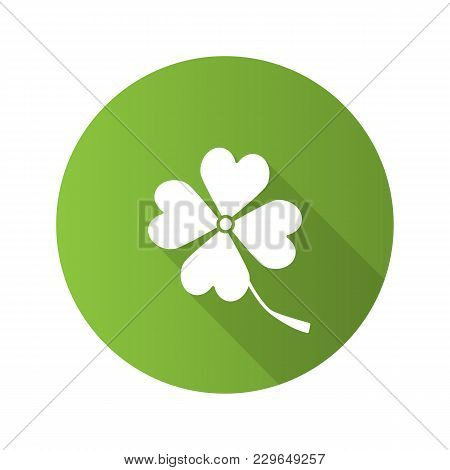 Four Leaf Clover Flat Design Long Shadow Glyph Icon. Symbol Of Success And Good Luck. Vector Silhoue