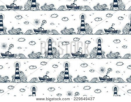 Lighthouse, Ship, Waves And Clouds In Kids Doodle Style, Vector Seamless Pattern