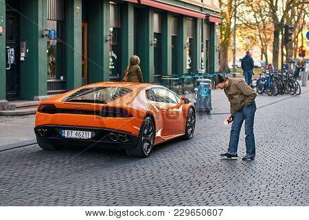 Oslo, Norway: April 26 2017 - Orange Lamborghini Huracan Lp 580-2 Spyder Car Released Circa 2016 In