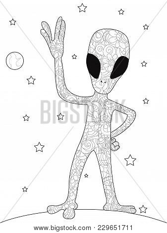Anti Stress Coloring Book For Adults. An Alien On The Planet. Uncertain Form Of Life. Vector Illustr