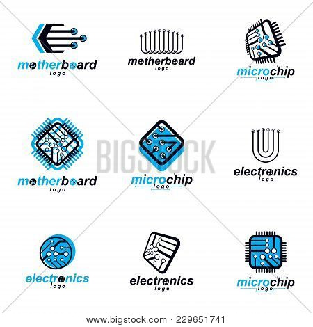 Technology Communication Cybernetic Elements Collection. Vector Abstract Circuit Board. Set Of Elect