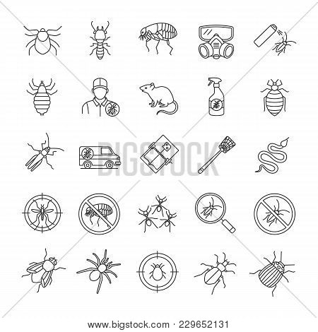 Pest Control Linear Icons Set. Extermination. Harmful Animals And Insects. Thin Line Contour Symbols
