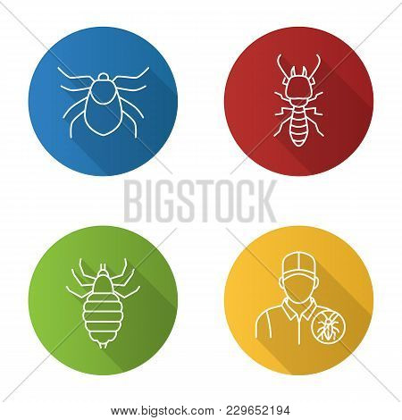 Pest Control Flat Linear Long Shadow Icons Set. Mite, Termite, Louse, Exterminator. Vector Outline I