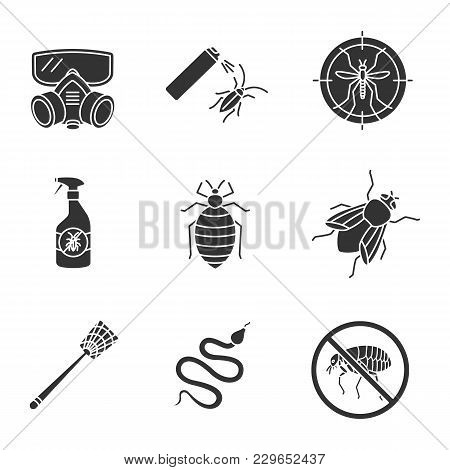 Pest Control Glyph Icons Set. Cockroach Repellent, Housefly, Snake, Fly-swatter, Mosquito Target, Be