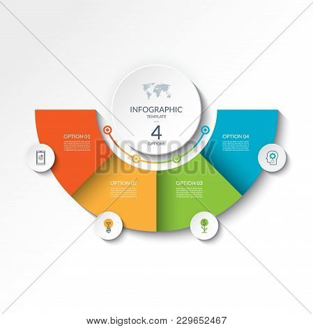 Infographic Banner With 4 Options. Vector Template For Business Presentation, Report, Data Visualiza