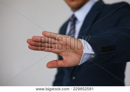 Gesture Male Hand Rejection Says No Male Businessman In A Suit On A Gray Background I Will Not Categ