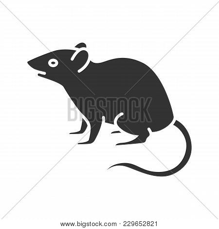 Mouse, Rat Glyph Icon. Rodent. Pest. Silhouette Symbol. Negative Space. Vector Isolated Illustration