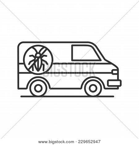 Exterminator Mini Bus Car Linear Icon. Thin Line Illustration. Pest Control Service. Contour Symbol.