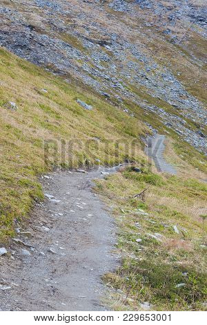 A Trail Leading Along The Side Of A Mountain. Grass And Moss Grow Beside The Path, As The Path Winds