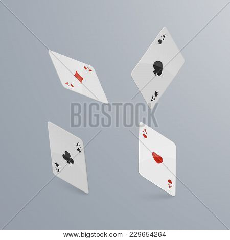 Playing Cards Falling On Light Background. Isometric And 3d. Vector, Eps 10 Illustration.