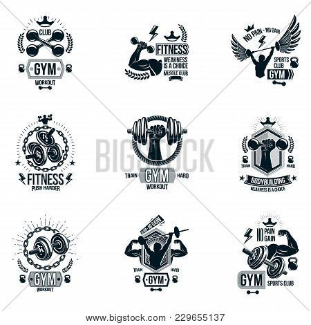 Set Of Vector Gym Theme Emblems And Motivational Banners Composed With Dumbbells, Barbells, Kettle B