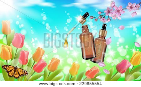Realistic Cosmetic Bottle Spring Landscape Green Grass Blue Sky Light Background Tulip Flower Butter