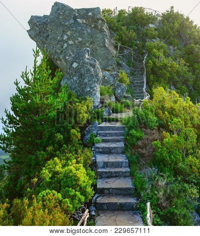 Stairs To Pas Pedras View Point, Madeira Island, Portugal, Europe.