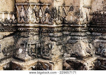 Close Up Of Broken Ancient Thai Pattern On The Stupa At Ayutthaya Historic Park Unesco World Heritag