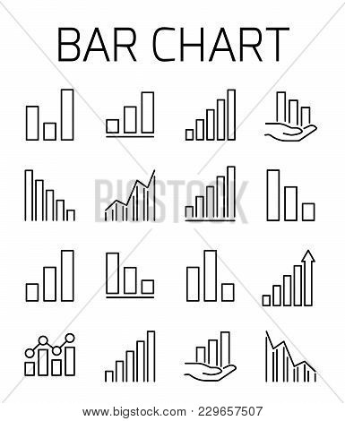 Bar Chart Related Vector Icon Set. Well-crafted Sign In Thin Line Style With Editable Stroke. Vector