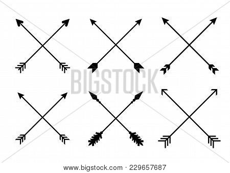Criss Cross Hipster Arrows. Arrows In Boho Style. Tribal Arrows. Set Of Indian Style Arrows. Vector