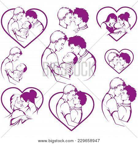 Set Of Homosexual. Gay Couple. Lgbt Pride. Happy Homosexual Family. Same-sex Marriage.