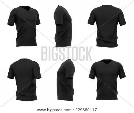 Men's black v-neck t-shirt with short sleeves. Six views. 3d rendering.