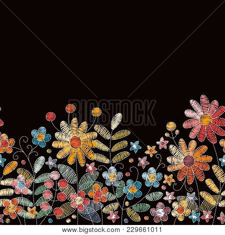 Lovely Embroidery Flowers. Seamless Embroidered Border With Herbs, Berries And Wildflowers On Black