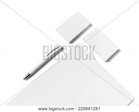 Blank White Stationery Mock-up. Letterhead, Business Cards And Pen On White Background. Isolated Wit