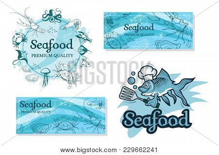 Set With Seafood. Isolated On White Background. Seafood Company Vector Logo Design Template. Ocean D