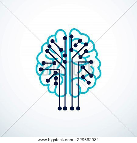 Artificial Intelligence Concept Vector Logo Design, Digital Mind And Smartness. Human Anatomical Bra