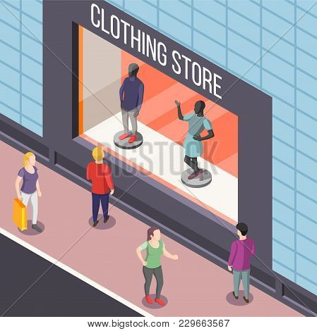 Showcase Of Fashion Clothing Store With Dummies Isometric Background With Persons Watching Vitrine F
