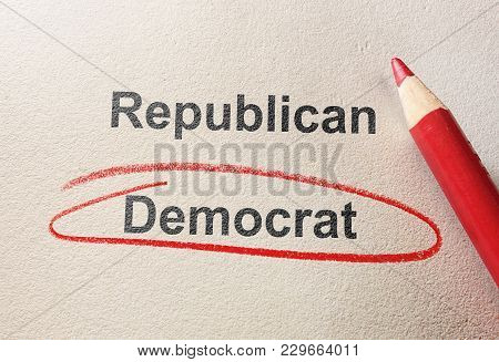Red Circle Around Democrat, With Republican Text