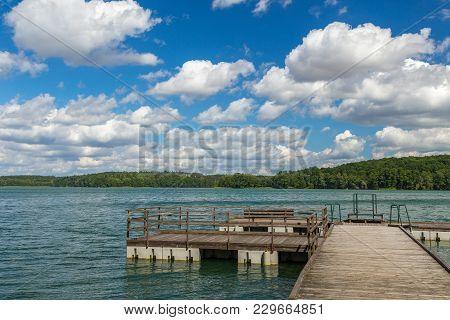 Pier Over The Lipie Lake In The Village Of Dlugie.