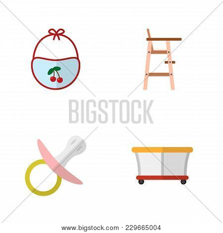 Icon Flat Baby Set Of Bib, Pacifier, Playpen And Other Vector Objects. Also Includes Playground, Bab