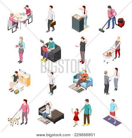Life Of Ordinary People Isometric Icons Set With Men And Women Involved In Daily Routine Work Isolat