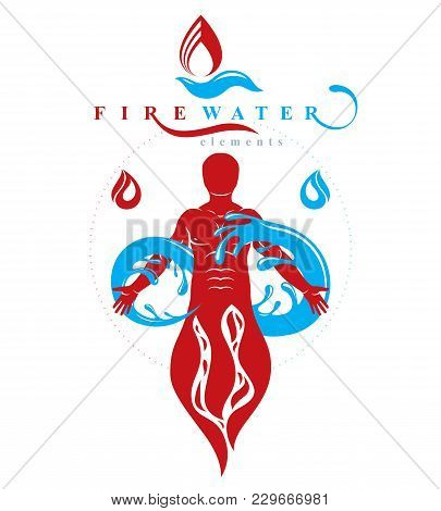 Vector Graphic Illustration Of Strong Male, Fireman Composed With Eternity Symbol Made With Water Sp