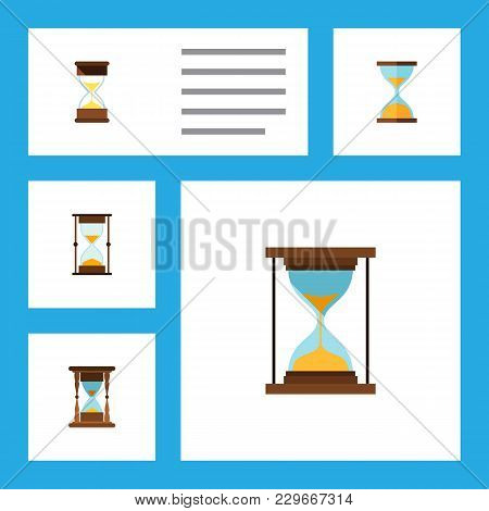 Icon Flat Hourglass Set Of Minute Measuring, Clock, Loading And Other Vector Objects. Also Includes