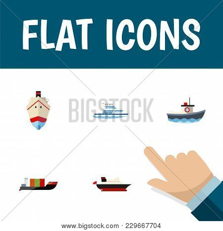 Icon Flat Boat Set Of Cargo, Vessel, Ship And Other Vector Objects. Also Includes Ship, Transport, C