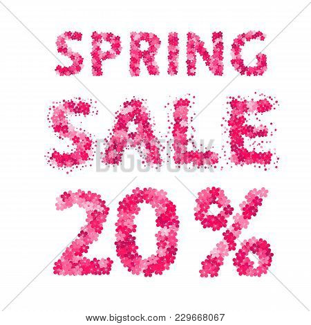 Spring Sale Banner. 20% Discount Sign. Numbers And Letters Made Of Flowers. Easy To Edit Vector Desi