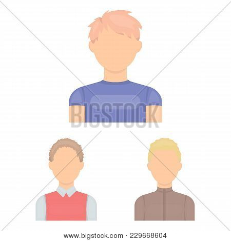 Avatar And Face Cartoon Icons In Set Collection For Design. A Person's Appearance Vector Symbol Stoc