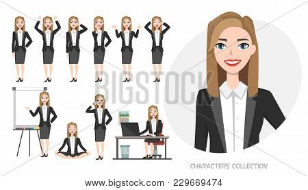 Set Of Emotions And Poses For Business Woman.young Girl In Office Suit Experiences Different Emotion