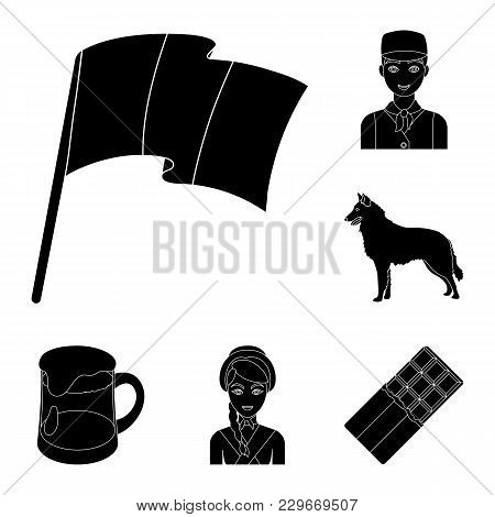 Country Belgium Black Icons In Set Collection For Design.travel And Attractions Belgium Vector Symbo