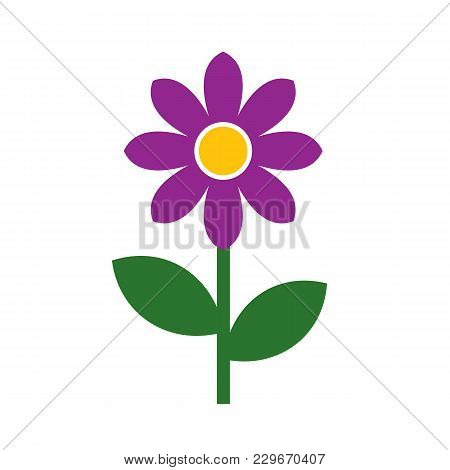 Flower Isolated On White Background. Vector Stock.