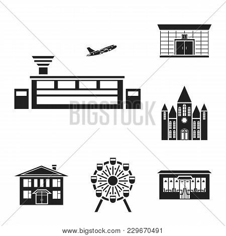 Building And Architecture Black Icons In Set Collection For Design. Construction And Institution Vec