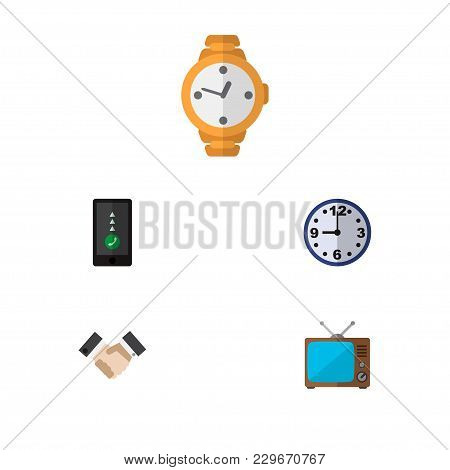 Icon Flat Oneday Set Of Handshake, Clock, Old Tv  Objects. Also Includes Clock, Greeting, Time Eleme