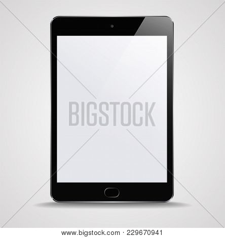 New Realistic Tablet PC Computer with blank Screen Isolated on white Background. Can Use for Template, Project, Presentation or Banner. Electronic Gadget, Device Set Mock Up. Vector Illustration.