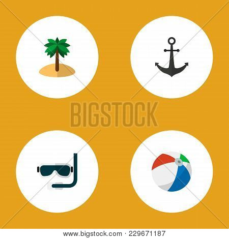 Icon Flat Summer Set Of Anchor, Ball, Palm And Other  Objects. Also Includes Ball, Coconut, Aqualung