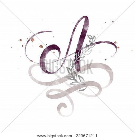 Hand Drawn Calligraphy Letter A. Watercolor Script Font. Isolated Letters Written With Ink. Handwrit
