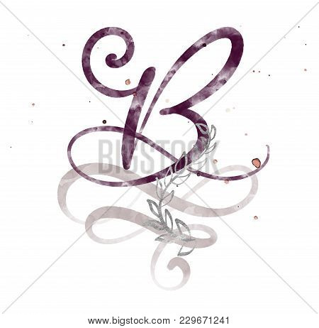 Hand Drawn Calligraphy Letter B. Watercolor Script Font. Isolated Letters Written With Ink. Handwrit