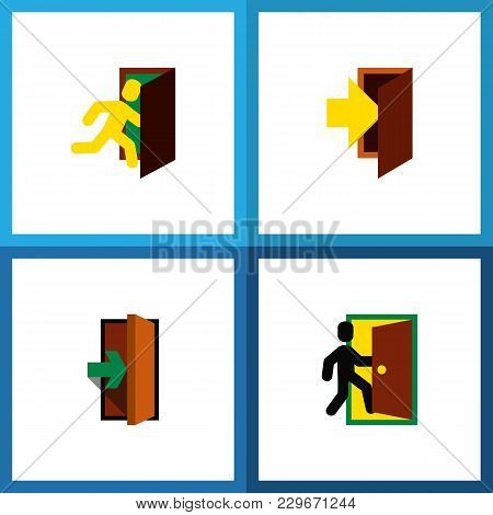 Icon Flat Emergency Set Of Evacuation, Entry, Entrance And Other  Objects. Also Includes Door, Entry